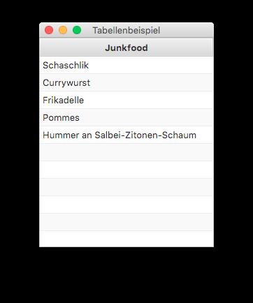 Einspaltige JavaFX TableView