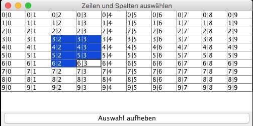 Vorauswahl Tabellenzellen