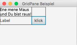 Ausgangszustand mit GridPane und Rasterlinien nach Vergrößern
