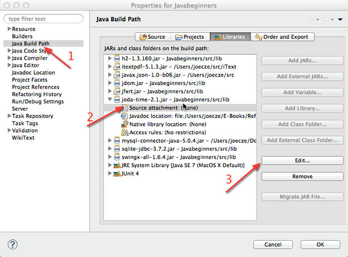 Dialog zum Einstellen des Java Build Path